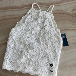 Hollister white Tie-Back High-Neck Sweater tank